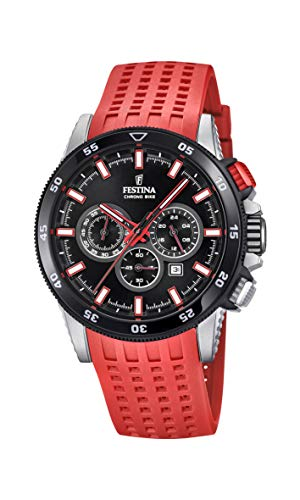 Men's Watch Festina - F20353/8 - CHRONO BIKE 2018 - Chronograph - Date - AM/PM - Red Rubber Strap