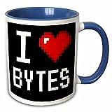 3dRose Dooni Designs Geek Designs - Geeky Old School Pixelated Pixels 8-Bit I Heart I Love Bytes - 11oz Two-Tone Blue Mug (mug_118866_6)