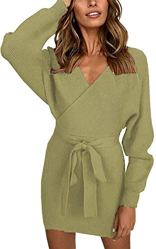 MIDOSOO Womens Stylish Surplice Wrap Long Sleeve Bodycon Knit Midi Dress with Belt #1Army Greens ()