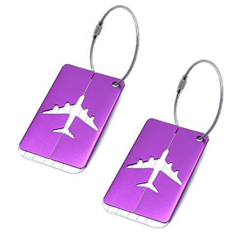 Vonty 2 Pack Airplane Luggage Tags Aluminium Alloy Travel ID Card Labels Suitcase Bag Tags with String, Purple ()