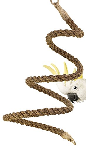 02066 Large Abaca Rope Boing Bird Toy Cage Toys Cage Amazon Macaw Cockatoo