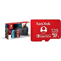 Nintendo Switch – Neon Red and Neon Blue Joy-Con with 128GB MicroSDXC UHS-I Card