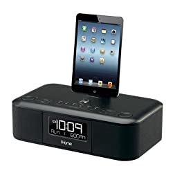 iHome iDL95 Lightning Dock Clock Radio and USB Charge/Play for iPad/iPod, iPhone 5/5S, 6/6Plus 7/7Plus , iPad Air, and iPad Mini (Black)