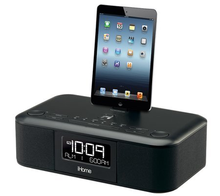 iHome iDL95 Lightning Dock Clock Radio and USB Charge/Play for iPad/iPod, iPhone 5/5S, 6/6Plus 7/7Plus , iPad Air, and iPad Mini (Silver)