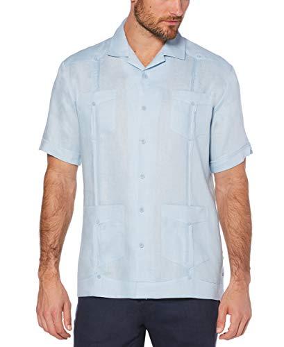 Cubavera Men's Short Sleeve 100% Linen Guayabera, Cashmere Blue, X Large