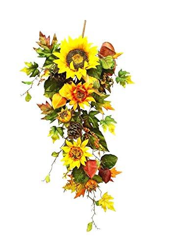 36 inches Silk Sunflowers Lantern Corn Teardrop Garland for Wedding Party Home Garden, Wedding Arch Garden Wall Decoration, Home Decoration - - Sunflower Garden Lantern