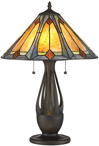 Gerald Traditional Mission Accent Table Lamp Deep Metallic Antique Tiffany Style Art Glass Shade for Living Room Bedroom Bedside Nightstand Office Family – Robert Louis Tiffany