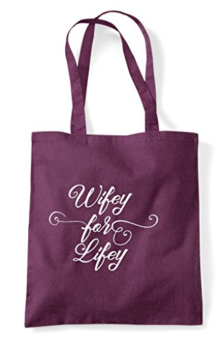 Tote Bag Shopper Plum Hen Personalised Wifey Party Hen Customised Lifey Do For nzw68zFBxq