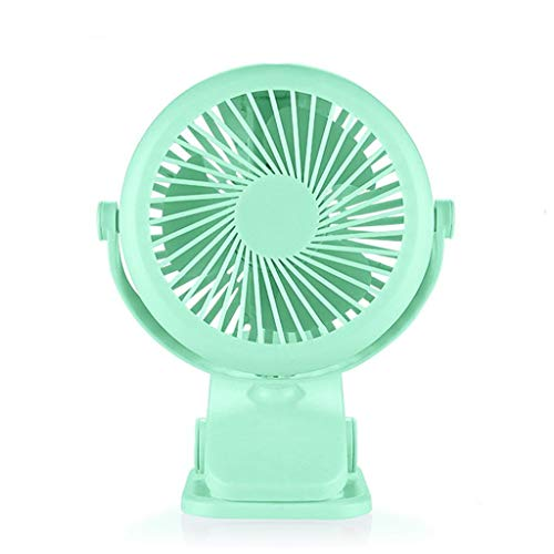 SUN HUIJIE Handheld Fan USB Rechargeable Portable Mini Fan Mute Student Dormitory Bed Clip Fan Refrigeration Keep On Hand Small Battery (Color : Green, Edition : 2500mAh) ()