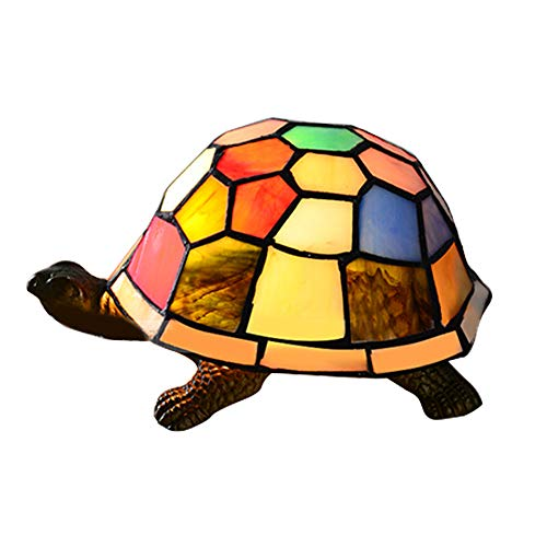 BAYCHEER HL403574 Turtle Light Tiffany Stained Glass Accent Table Lamp Table Lights Turtle Desk Lights for Bedroom Living Room Reading Room Any Room use E12 Light Bulb (Stained Turtle Glass Lamp)
