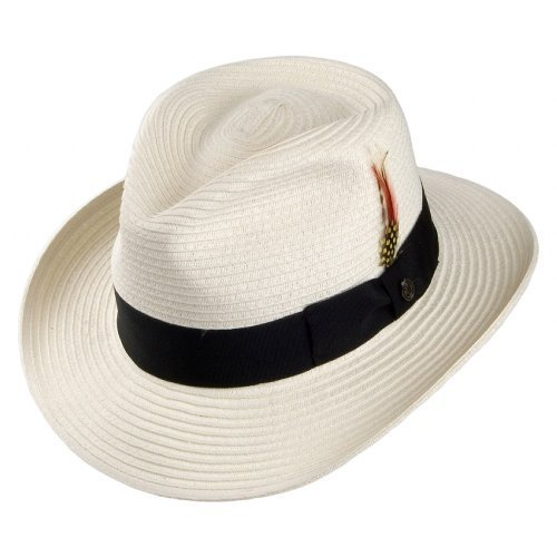 Jaxon Summer C-Crown Toyo Straw Fedora Hat (XX-Large, Natural)