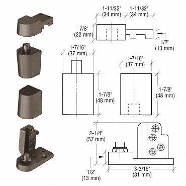 CRL Dark Bronze Offset Right Hand 0P70 Series Kawneer Type Pivot Set by CR Laurence