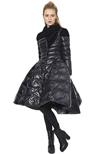 XAJHL Princess Dressdown Jacket for Women Fur Collar Pleated Creative Court Lady Warm Winter Down Coat,Bblack,S from XAJHL