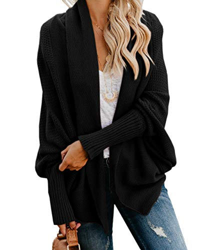 YeMgSiP Womens Chunky Kimono Cardigan Batwing Sleeve Open Front Sweaters Oversized Casual Knit Winter Outwear Black
