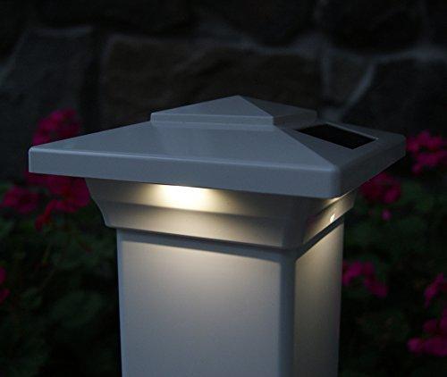 Classy Caps SL4400 Pvc Windsor Solar Post Cap, 4'' x 4'', White by Classy Caps