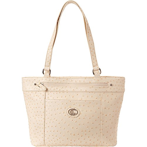 Aurielle-Carryland Ostrich Shopper Tote (Ivory)