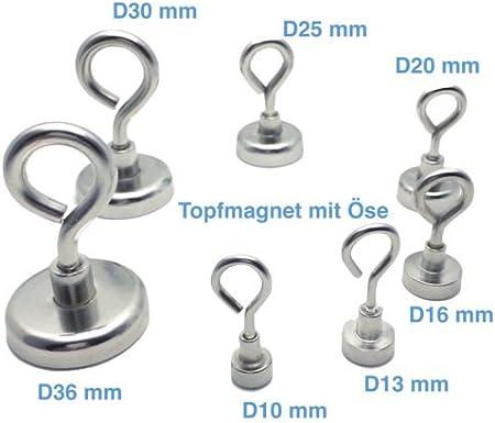 Neodym Magnethaken /Ösenmagnete Magnet/ösen Extra Stark verzinkt 41 kg Variante: Hakenmagnet Topfmagnet Magnet mit Haken///Öse Durchmesser: /Ø 36 mm h/ält bis 160 kg NdFeB ab /Ø10 bis 75mm
