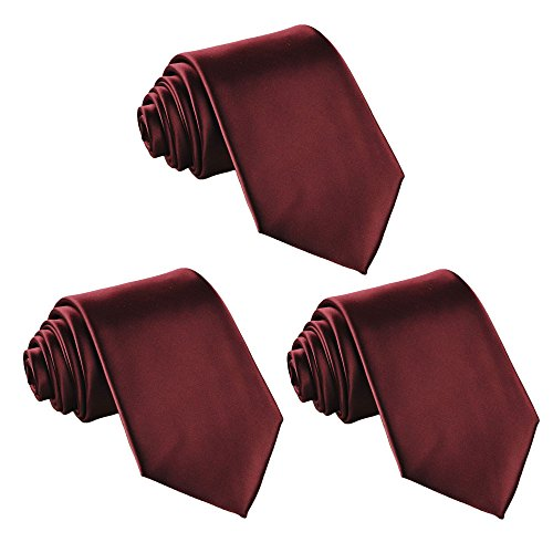 Fortunatever 3 PCS Solid Neckties,Burgundy Red Classical Handmade Tie With Gift Box