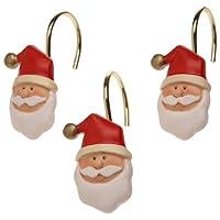 Carnation Home Fashions - Juego de 12 ganchos para cortina de ducha de resina de cerámica de Santa Claus