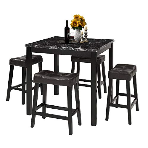 - LZ LEISURE ZONE 5-Piece Dining Table Set Kitchen Wooden Top Counter Height Dining Set with 4 Leather-Upholstered Stools (Marble)
