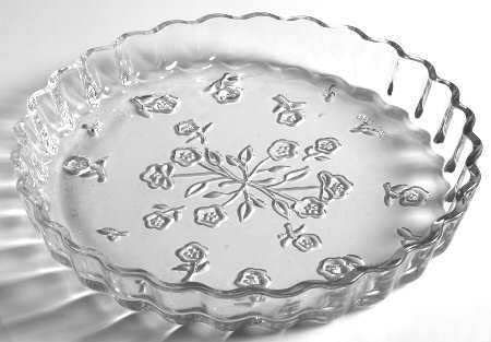 vintage anchor hocking savannah clear glass platter 12 inches floral pattern