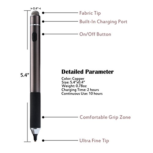 Active Stylus Pen, TEOYALL Rechargeable 1.8mm Fine Point Copper Tip Capacitive Digital Stylus Pen for iPhone, iPad pro, Samsung, Tablets, Android and other Capacitive Touch Screen Devices (Bronze) by TEOYALL (Image #5)