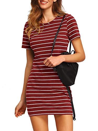 Floerns Women's Causal Short Sleeve Striped Tunic T-Shirt Dress Red M ()