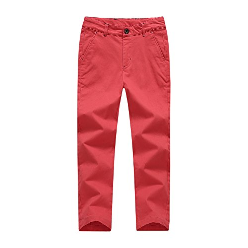 BASADINA Boys Pants - Summer Chino Cotton Pants Fitted with Adjustable Waist,4-14 Years Old