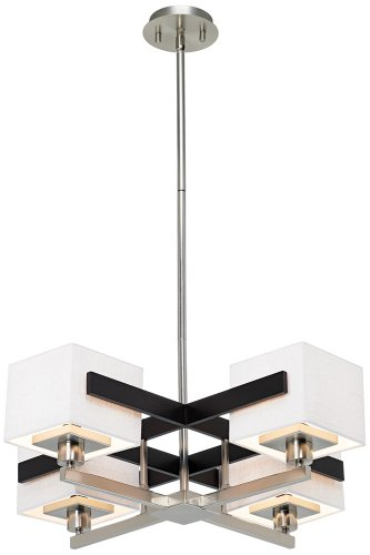 Possini Euro Design Mirrored Grids Metal and Wood Chandelier - Euro White Chandelier