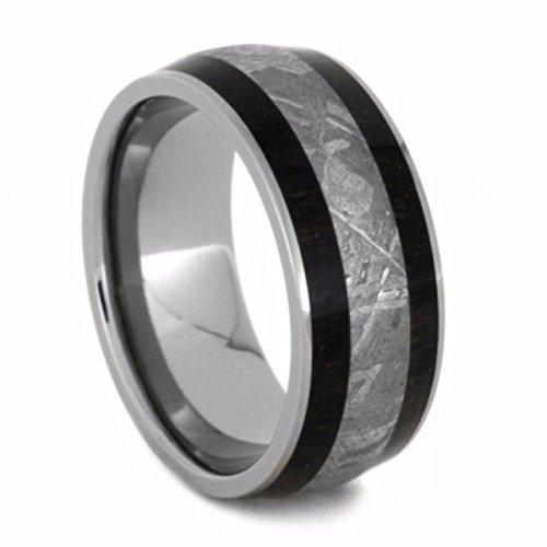 Gibeon Meteorite, African Blackwood 8.5mm Comfort-Fit Titanium Wedding Band, Size 8.25 by The Men's Jewelry Store (Unisex Jewelry)