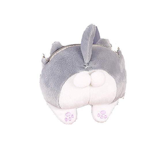 Crossbody Handbag,AfterSo Cute Cat Butt Tail Plush Zipper Purse Shoulder Bags for teen girls (17cm/6.69