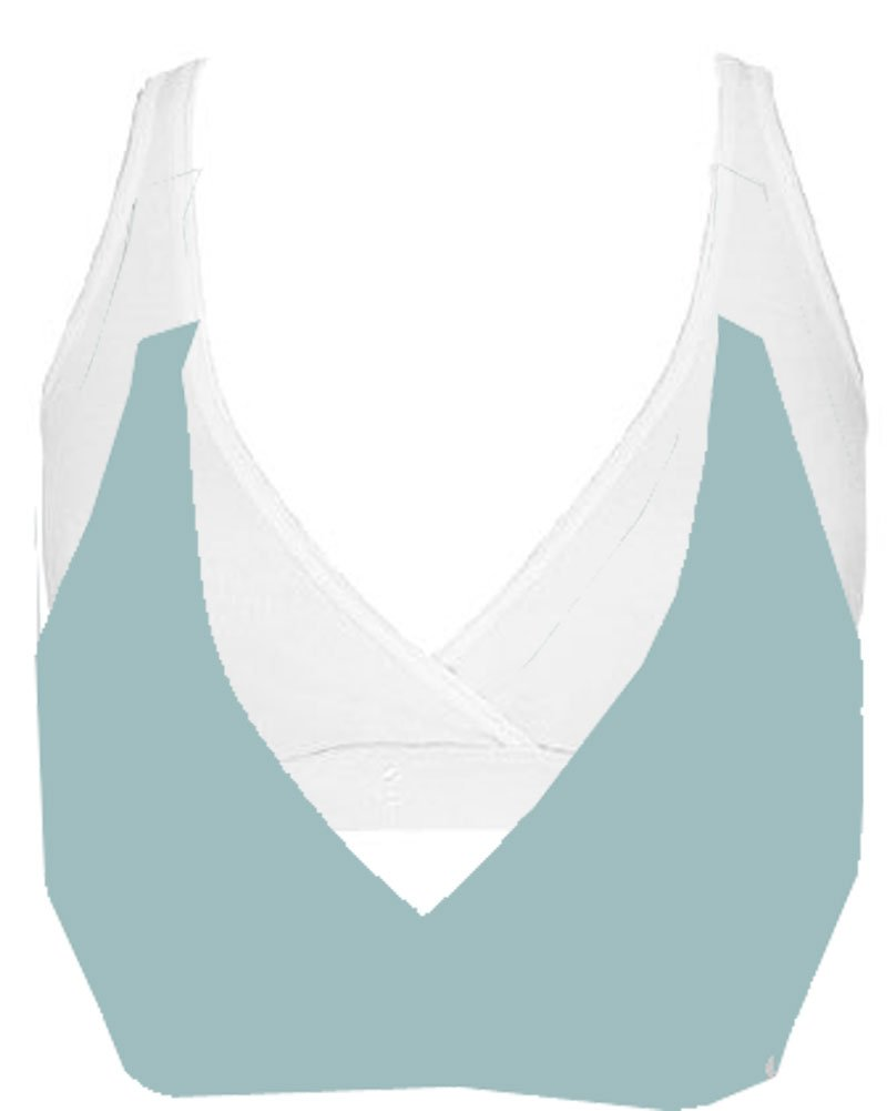 Pullover Nursing Sleep Bra,XX-Large,2 Pack: White/Blue Glass