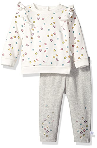 Rosie Pope Girls Baby Newborn & Infant Playwear Sets, Heather Gray/White Multi 24M