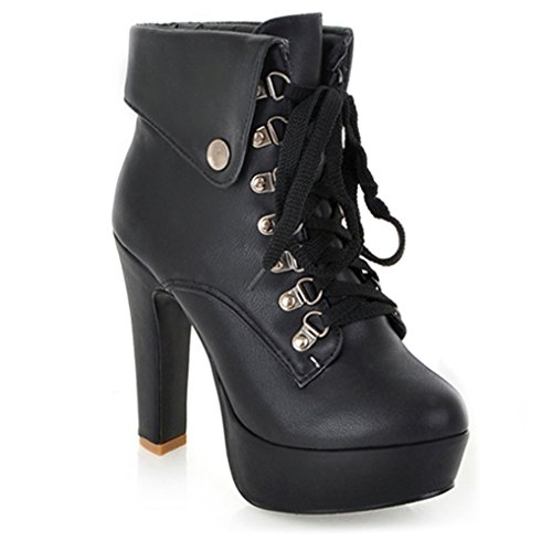 Platform Lace High Boots Heel Black Ladies Ankle Party Boots Three's 2017 Up CqpYw8xEf