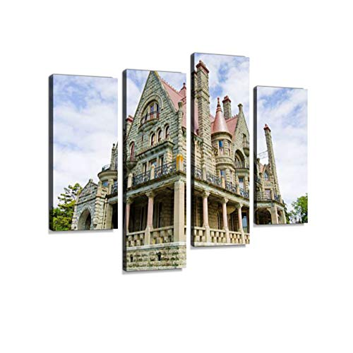Craigdarroch Castle in Victoria, British Columbia Canvas Wall Art Hanging Paintings Modern Artwork Abstract Picture Prints Home Decoration Gift Unique Designed Framed 4 Panel