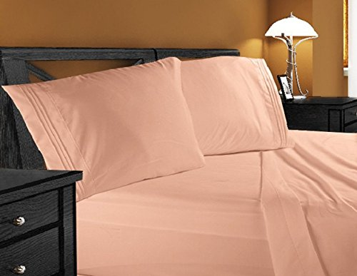 Deluxe Microfiber 3-Line Bed Sheet Set, King, Peach