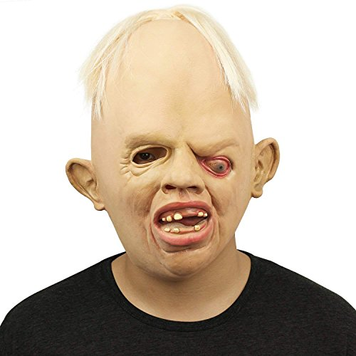 (Eforoutdoor Novelty Halloween Costume Latex Rubber Creepy Scary Ugly Baby Head The Goonies Sloth Mask Halloween Party Costume)