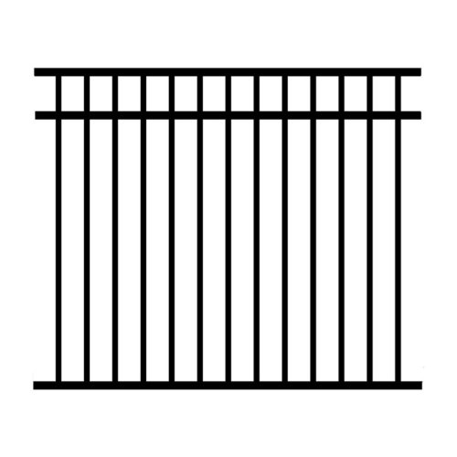 Jerith 54 x 72 in. Black Unassembled 3-Rail Aluminum Fence Section