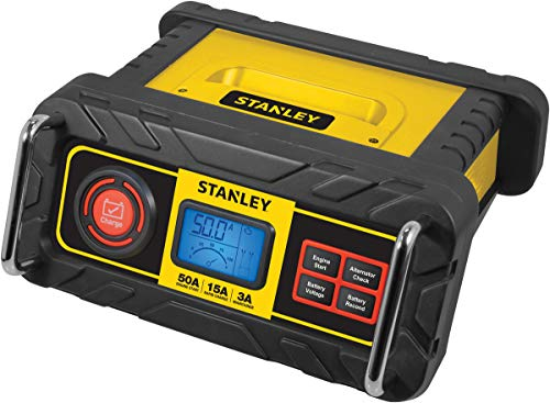 STANLEY BC50BS Fully Automatic 15 Amp 12V Bench Battery Charger/Maintainer with 50A Engine Start, Alternator Check, Cable Clamps