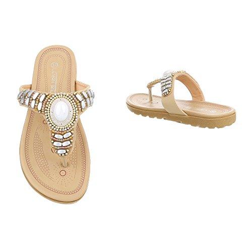 Schuhcity24 Damen Schuhe Sandalen Zehentrenner Beige