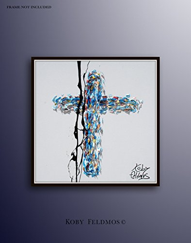 Cross 30'' oil painting on canvas, biblical art, jesus cross, Christian painting, religious art, ready to hang, by Koby Feldmos by Koby Feldmos