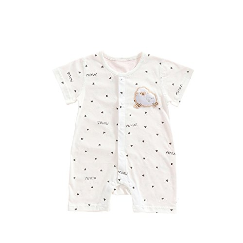 MuYwa Baby Boys' and Baby Girls' Organic Rompers, Onesies Soft Cotton Romper Creeper for Easy Diaper Changes Snap up Romper M-White