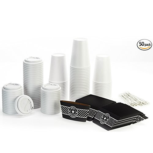 Disposable Coffee Cups with Lids and Sleeves and Stirrers (50 pack) - 12 oz Hot Paper Cups alternative to Travel Mugs - Recyclable Cups and Accessories perfect for Hot Cold Drinks (White, 12oz)