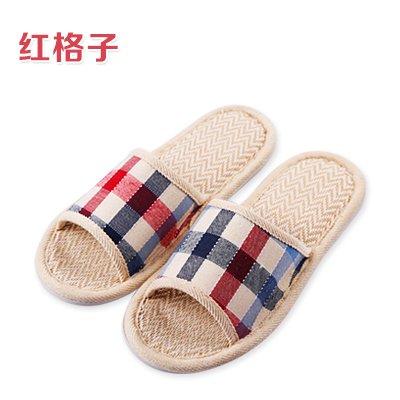YMFIE Lino Transpirable Saludable Zapatillas en Primavera y Verano Ladies' Home en el Suelo del baño y Cool Skidproof Zapatillas D