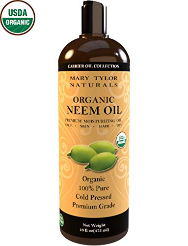 Organic Neem Oil Large 16 oz, USDA Certified Organic Cold Pressed, Unrefined, Premium Quality, 100% Pure Great for Skincare, Hair and Plant Care, Natural Bug Repellent by Mary Tylor Naturals