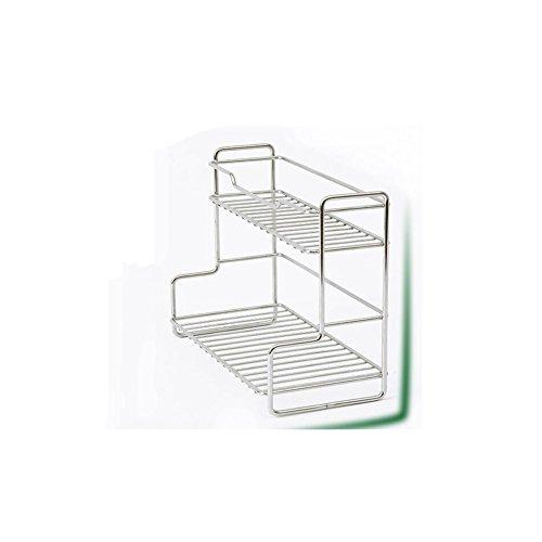 BJ Estantes Estantería pequeña de Almacenamiento Mini Cocina de Acero Inoxidable Estante de Cocina Rack Dos estantes de...