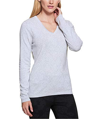 Tommy Hilfiger Womens Studded Knit Sweater, Grey, Large
