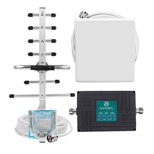 (Cell Phone Signal Booster for AT&T T-Mobile GSM 3G 4G LTE - Boost Cellular Voice and Data Signal in Home by Tri-Band 700ATT/850/1900MHz Band 2/5/12/17 Repeater kit and High Gain Panel/Yagi Antennas)