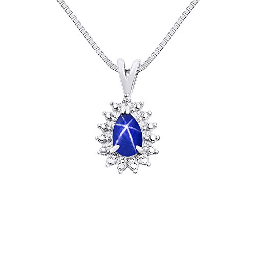 Diamond & Blue Star Sapphire Pendant Necklace In Sterling Silver .925 with 18'' Chain by Rylos