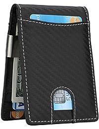 e194e78ed3f0 Money Clip Wallet - Mens Slim Front Pocket Leather Wallet RFID Blocking  Minimalist Mini Wallet
